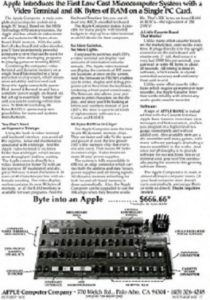 Advertisement Apple I Computer. Byte into Apple advertisment