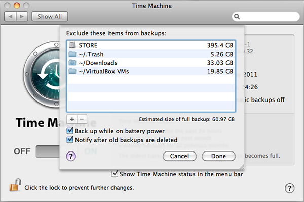 time machine exclude items settings 600x400 - Apple Time Machine