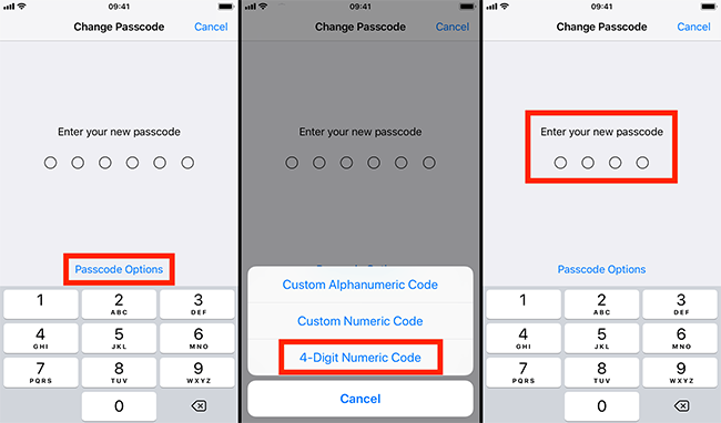 To follow your needs you can also set up the Passcode Options.