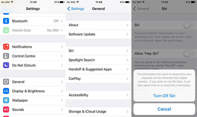 If you are looking to completely disable Siri, simply navigate to Settings > General >Siri. Then, tap the toggle next to Siri and you'll be prompted to Turn Off Siri.