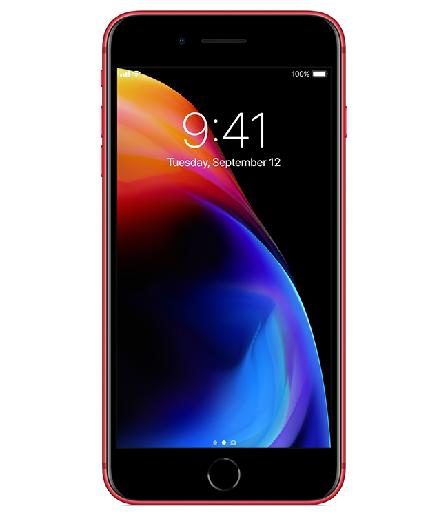 Apple customers can purchase iPhone 8 and iPhone 8 Plus in a beautiful red and black finish while contributing to the Global Fund to fight AIDS.