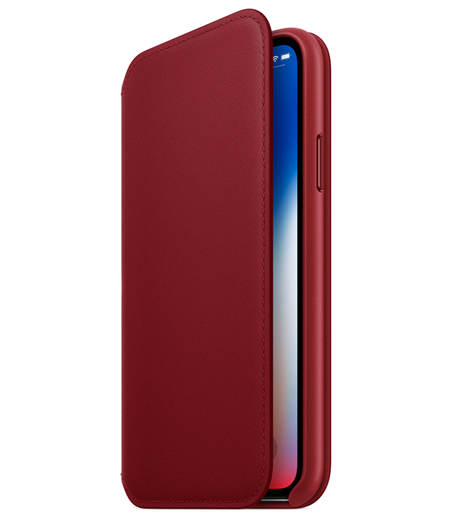 Apple also introduced a new (PRODUCT)RED iPhone X Leather Folio.
