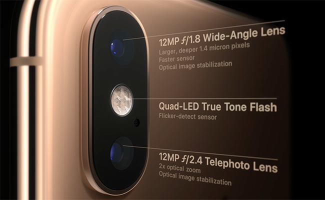 Cameras have been upgraded, with the iPhone XS fitted with a dual-camera at the rear that has two 12MP lenses and dual optical image stabilisation