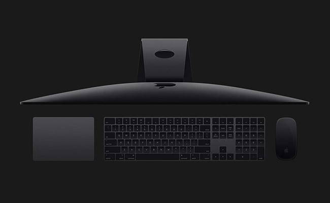 Available exclusively at the time of your iMac Pro purchase, these space gray accessories are wireless, rechargeable, and beautiful. The Magic Keyboard includes a numeric keypad, and to go with it you can choose either the Magic Mouse 2 or the Magic Trackpad 2.
