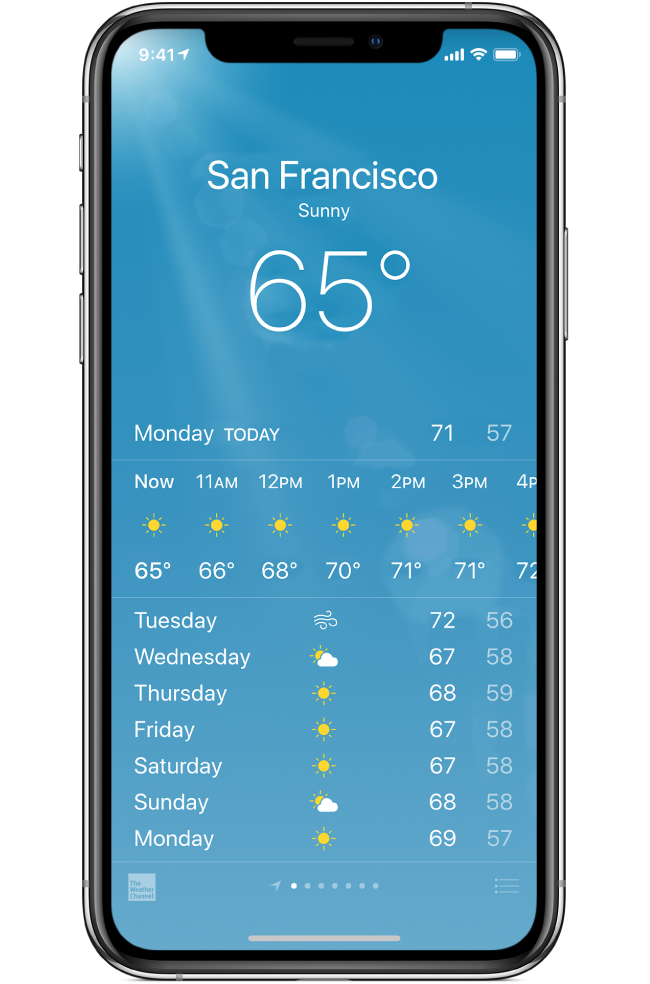 Use the Weather app to check the weather in your current location or in other cities.