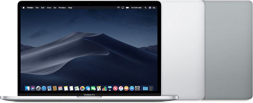 The new MacBook Pro 15,2 (13-inch, 2019) available in silver or space gray colors.