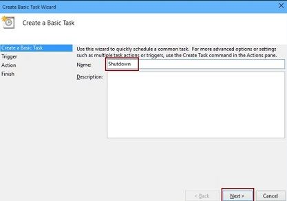 create basic task - Schedule PC Shut-Down with Built-In Tools