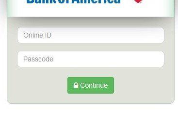 bank of america fake screen