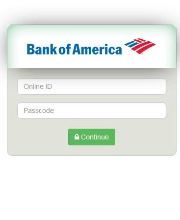 bank of america fake screen