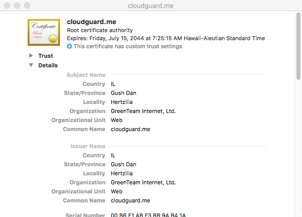The cloudguard.me certificate can be found in the System Keychain