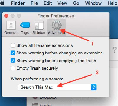 7 Finder abilities: Searching folder by default