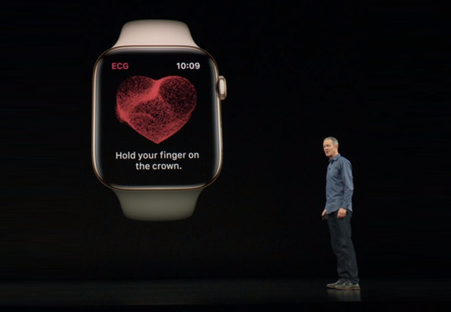 The key innovation in the Series 4 is the electrocardiograph functionality