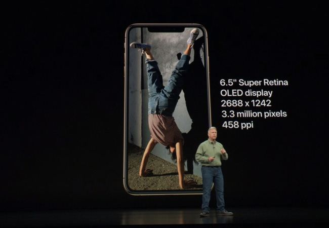iPhone XS Max have 6.5-inch Super Retina OLED Display with 2688x1242 pixels resolution