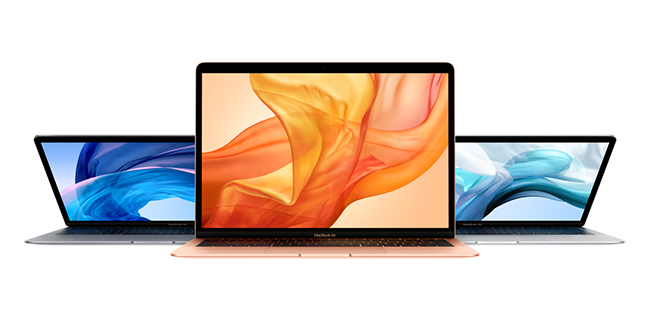 MacBook Air comes in three new stunning colors — gold, silver and space gray.