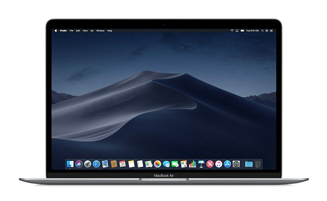 MacBook Air includes macOS Mojave, featuring Dark Mode, Stacks, new apps and a redesigned Mac App Store.