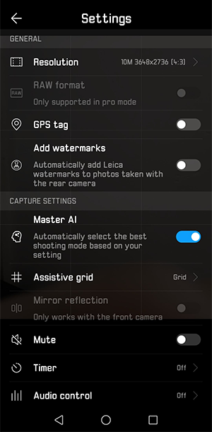 The Huawei P20 Pro camera settings.