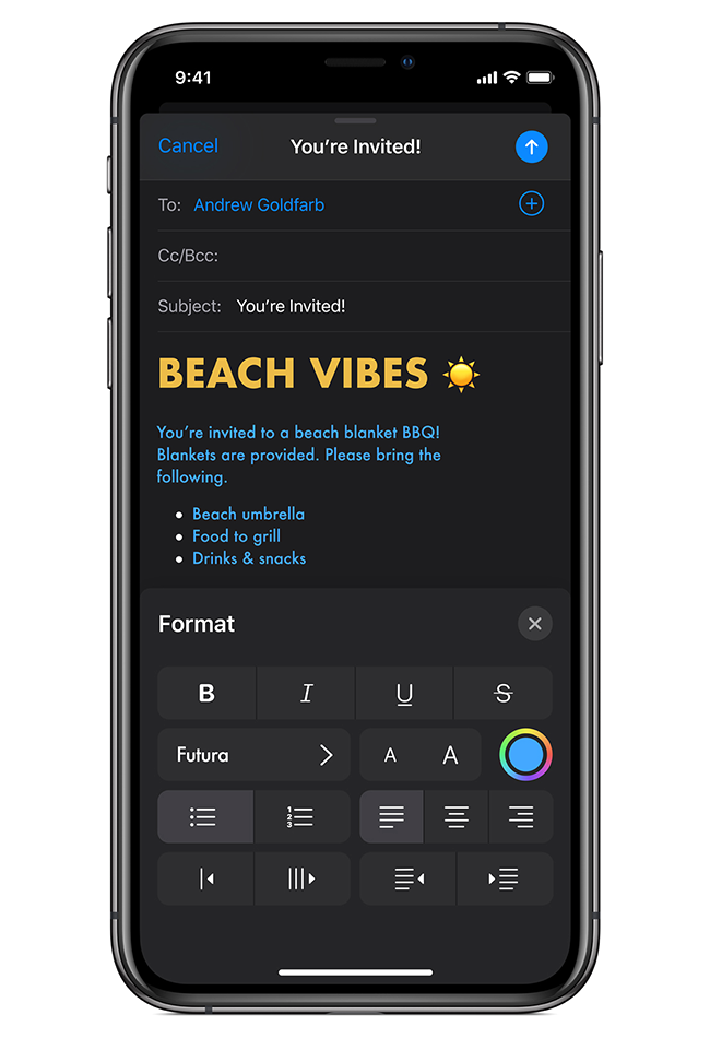 Dark Mode works system-wide to make every app look great with a darker color palette.