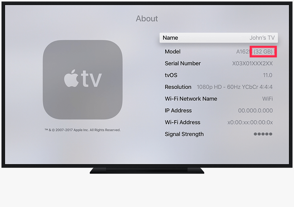 What Storage Capacity Have my Apple TV