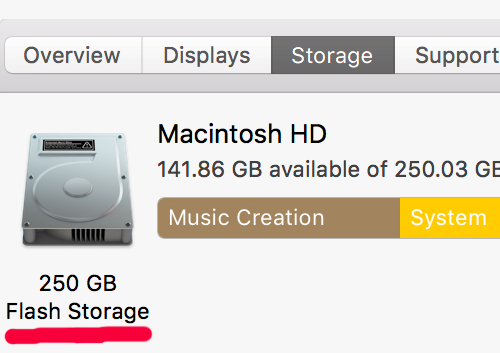 What storage have my Mac mini